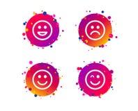 Значки улыбки Стороны счастливых, унылых и wink вектор иллюстрация штока