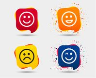 Значки улыбки Стороны счастливых, унылых и wink Стоковая Фотография RF