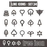 Значки установили геометрию элементов дизайна стиля линии деревьев черную современную Стоковые Изображения