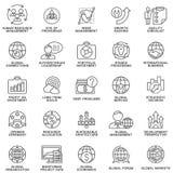 Значки установили глобальный бизнес, экономику и маркетинг Стоковое фото RF