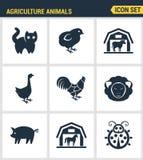 Значки установили наградное качество комплекта значка фермы животноводческой фермы амбара животных земледелия Стиль дизайна совре Стоковое Фото