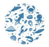 Значки установленные в округлую форму, силуэт морепродуктов Собрание продукта моря изолированное на белой предпосылке Рыбные прод иллюстрация штока