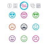 Значки улыбки Солнечные очки, усик и смеяться над Стоковая Фотография RF