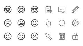 Значки улыбки Солнечные очки, усик и смеяться над Стоковые Изображения