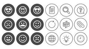 Значки улыбки Солнечные очки, усик и смеяться над Стоковое Изображение RF