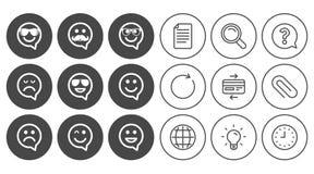 Значки улыбки Солнечные очки, усик и смеяться над Стоковое Изображение