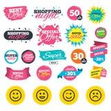 Значки улыбки Стороны счастливых, унылых и wink Стоковые Фото