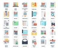 Значки файлов и документов плоские Стоковые Изображения RF