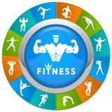 Значки фитнеса и спортзала Стоковые Фотографии RF