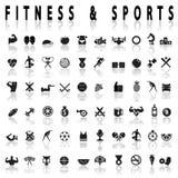 Значки фитнеса и спорт Стоковые Изображения