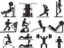 Значки фитнеса силуэта Стоковая Фотография