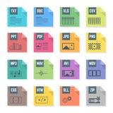 Значки форматов стиля различного файла цвета плоские установили с иллюстрациями Стоковые Изображения