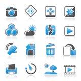 Значки фотографии и функции камеры Стоковое Изображение