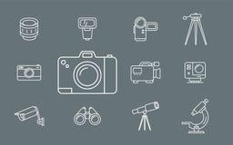 Значки фото и видеооборудования - установите сеть и чернь 01 бесплатная иллюстрация