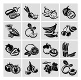 Значки фруктов и овощей Иллюстрация штока