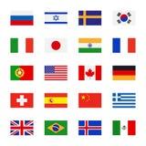 Значки флагов плоские Стоковые Изображения RF