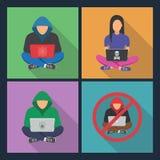 Значки хакера Хакер при компьтер-книжка, рубя интернет Стоковая Фотография RF
