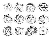 Значки характера свиней и хряков Doodle на китайский Новый Год 2019 Линия иллюстрация эскиза вектора для милого смешного воплощен иллюстрация штока