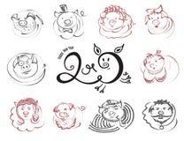 Значки характера свиней и хряков Doodle на китайский Новый Год 2019 иллюстрация вектора