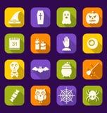 Значки хеллоуина плоские с длинными тенями Стоковые Фото