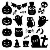 Значки хеллоуина черные милые Стоковое фото RF