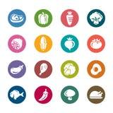 Значки цвета еды и овощей Стоковое Изображение RF