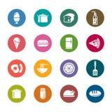 Значки цвета еды и пить Стоковая Фотография