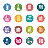 Значки цвета зданий Стоковые Фото