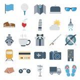 Значки цвета перемещения и путешествия изолированные вектором состоят с флагом, питьем, темповым сальто сальто, биноклями, здание иллюстрация штока