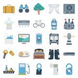 Значки цвета перемещения и путешествия изолированные вектором состоят с сумкой перемещения, деревом, мультимедиа, полотенцем, нас иллюстрация вектора