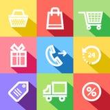 Значки цвета покупок Стоковое Изображение