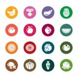Значки цвета фрукта и овоща Стоковое Изображение RF