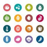 Значки цвета фрукта и овоща Стоковые Изображения