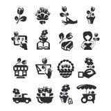 Значки цветочного магазина Бесплатная Иллюстрация