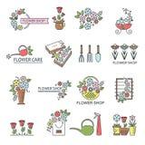 Значки цветочного магазина Иллюстрация штока