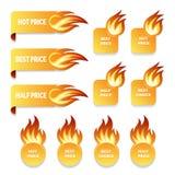 Значки цены на золото и продажи с пламенами огня иллюстрация вектора