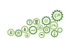 Значки цепного колеса Infography экологические иллюстрация штока