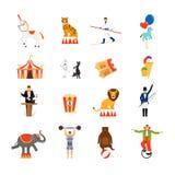 Значки цирка плоские Стоковые Изображения