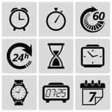 Значки часов и времени. Иллюстрация вектора Стоковое фото RF