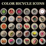 Значки части велосипеда цвета Стоковое Изображение RF