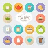 Значки чая плоские Стоковые Изображения RF
