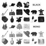 Значки черноты Канады страны в собрании комплекта для дизайна Канада и ориентир ориентир vector иллюстрация сети запаса символа иллюстрация штока