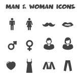 Значки человека и женщины иллюстрация штока