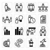 Значки человеческих ресурсов и дела Стоковые Изображения RF