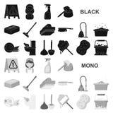 Значки чистки и горничной черные в собрании комплекта для дизайна Оборудование для очищая иллюстрации сети запаса символа вектора иллюстрация вектора