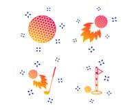Значки шара для игры в гольф Файрбол с символом клуба r иллюстрация штока