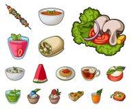 Значки шаржа вегетарианского блюда в собрании комплекта для дизайна Еда овоща и молока vector иллюстрация сети запаса символа иллюстрация штока