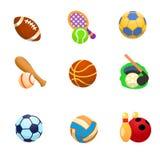 Значки шаржа спорт с шариками Стоковое Изображение