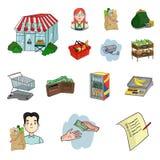 Значки шаржа супермаркета и оборудования в собрании комплекта для дизайна Приобретение сети запаса символа вектора продуктов бесплатная иллюстрация