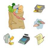 Значки шаржа супермаркета и оборудования в собрании комплекта для дизайна Приобретение сети запаса символа вектора продуктов иллюстрация штока